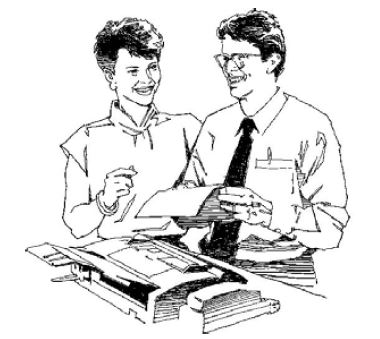 Man and women faxing paper