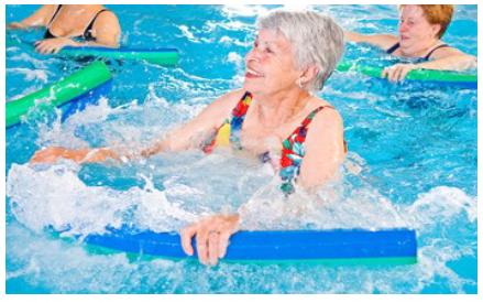 Old women swimming