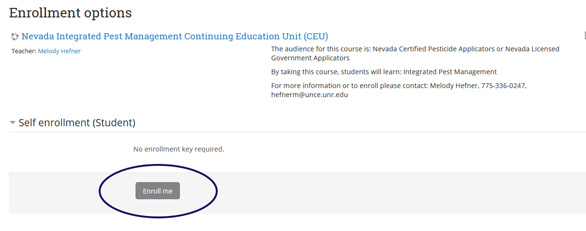 graphic of the extension online campus website showing how to enroll in the CEU course