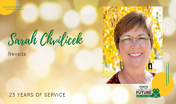 "Image slide featuring a picture with Sarah Chvilicek and the words ""Sarah Chvilicek, Nevada, 25 years of service"