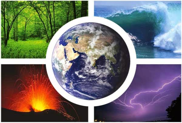 Picture collage of a forest, the ocean, a volcano and a lightning storm with an image of the earth over top