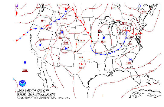 Surface weather analysis map