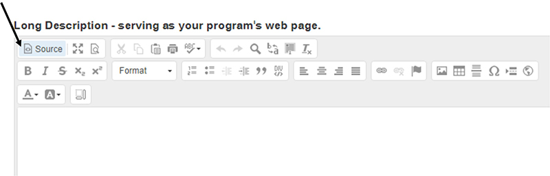 Screenshot of the source button in the WYSIWYG