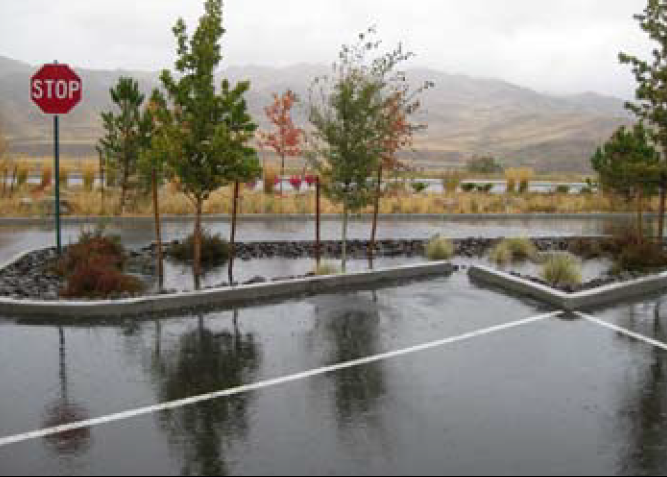 Stormwater on parking lot
