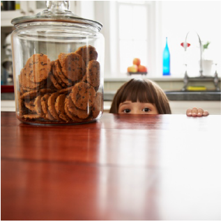 Girl looking at cookies