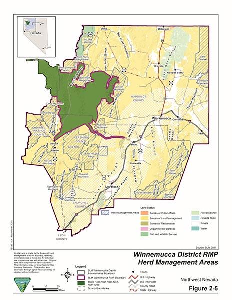Winnemucca District map of wild horse herd management areas.