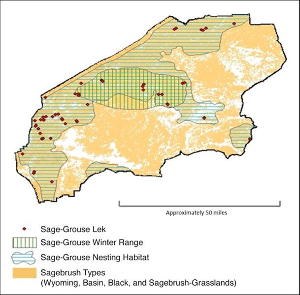 GIS map of sage-grouse leks and habitats.