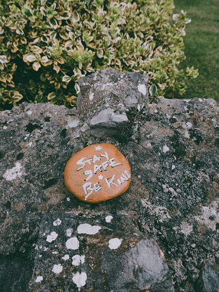 Stay safe and be kind painted rock