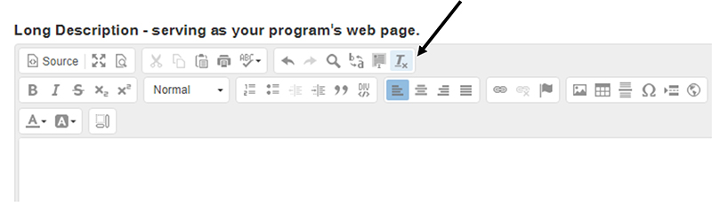 Screenshot of the remove format button in the WYSIWYG.