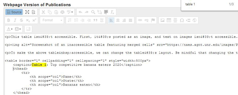 Screenshot of source view. An open search window shows where the table is in the document. The cursor is where the code will be pasted, after the closing caption tag and before the opening header tag.