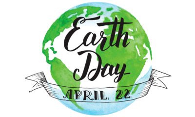 Image of Earth with the text Earth Day April 22