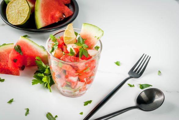 A picture of watermelon salsa.