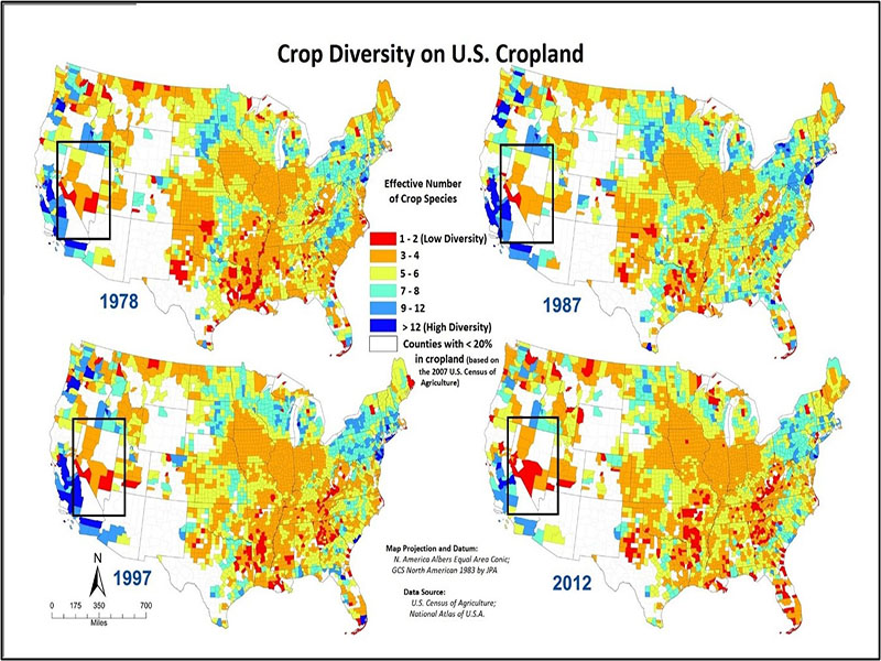 4 maps of the U.S. comparing 1978, 1987, 1997 and 2012. Each map is color coded to reflect how many crops are grown in each area of the U.S. Nevada areas show between 0 and 4 different crops grown.