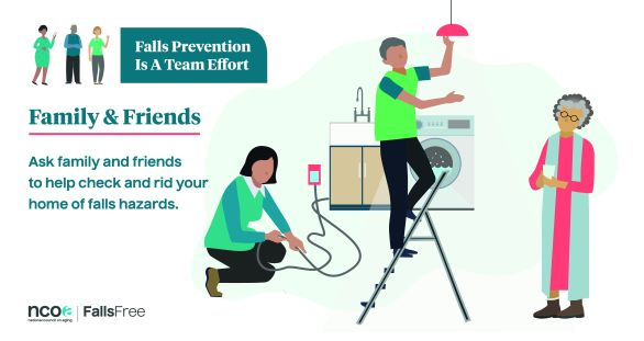 """National Council on Aging infographic saying """"Ask family and friends to help check and rid your home of falls hazards"""""""