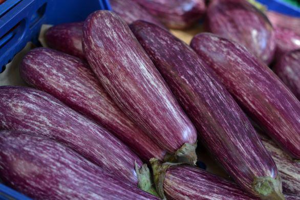A bunch of eggplants.