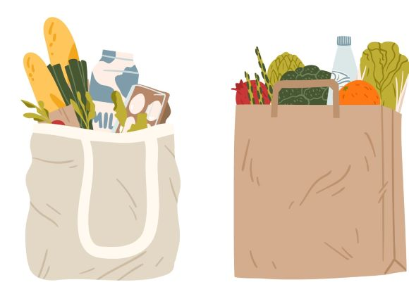 Two grocery bags full of grocery items