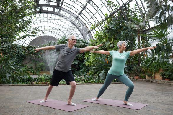 Older couple doing a yoga pose.