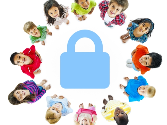 Diverse Children in Circle Around Safety Lock