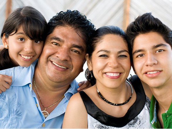 Hispanic family in close up photo