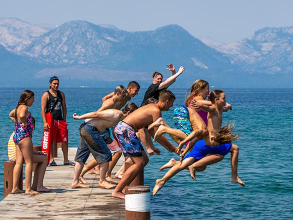 campers swiming in lake tahoe