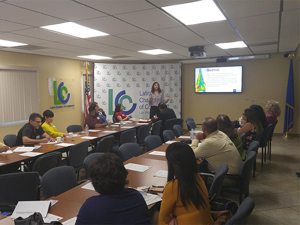 Reyna teaching a class at Latin Chamber