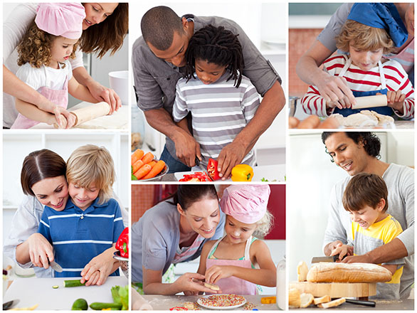 Photo collage of parents and children cooking together.